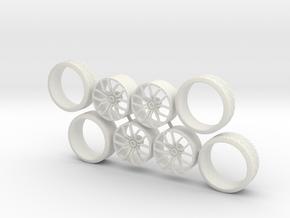 TSW Zenon + Tire in White Natural Versatile Plastic