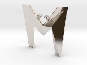 Distorted letter M in Rhodium Plated Brass