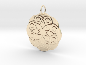 Rose Window Pendant in 14k Gold Plated Brass