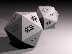 d20 Hexagon Pips in Black Natural Versatile Plastic