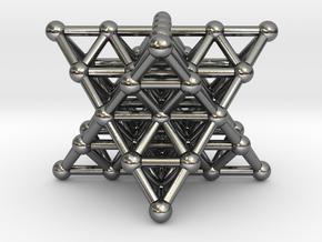 Merkaba Matrix 2 - Star tetrahedron grid in Polished Silver
