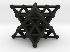 Merkaba Matrix 2 - Star tetrahedron grid in Black Natural Versatile Plastic