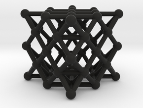 64 Tetrahedron Grid - Surface in Black Natural Versatile Plastic