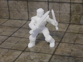 General Fighter Mini (Dual Blades) in White Natural Versatile Plastic: 1:56