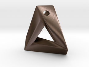 Impossible Triangle Pendant in Polished Bronze Steel: Small