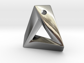 Impossible Triangle Pendant in Polished Silver: Small