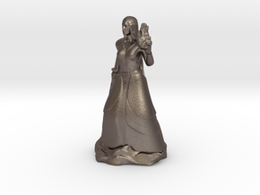 Female Half Elf Bard with Rapier and Uilleann pipe in Polished Bronzed Silver Steel