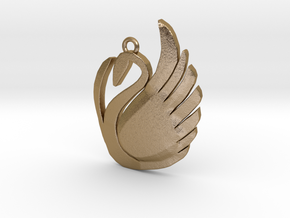 Swan Pendant  in Polished Gold Steel