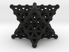 Merkaba Matrix 3 - Surface - Star tetrahedron grid in Black Natural Versatile Plastic