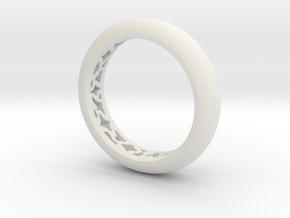 Pattern Ring  in White Natural Versatile Plastic