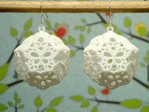 Butterfly Dodecahedron Earrings in White Natural Versatile Plastic