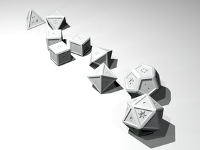 Radial: Stylized Dice Set in White Processed Versatile Plastic