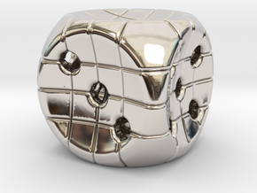 The Net D6 in Rhodium Plated Brass