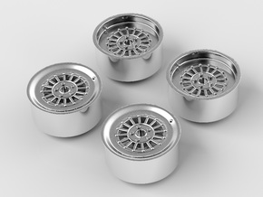 Rims For Scale 1-24 in Fine Detail Polished Silver