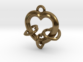 3 Hearts Linked in Love in Polished Bronze (Interlocking Parts)