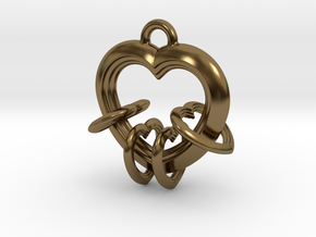 4 Hearts Linked in Love in Polished Bronze (Interlocking Parts)