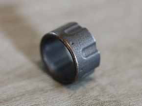 Chamber Ring - 22 CAL - US Size 08 in Polished and Bronzed Black Steel