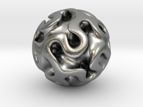 Gyroid Sphere #1 in Natural Silver