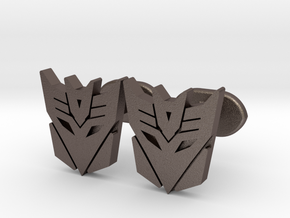 decepticons cufflinks  in Polished Bronzed Silver Steel