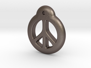 Blythe Doll Pullring *Peace* in Polished Bronzed Silver Steel