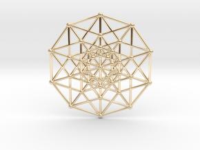 Penteract - 5d Hypercube - E5 in 14k Gold Plated Brass