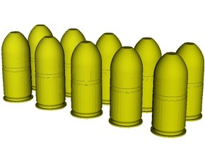 1/24 scale M-781 40x46mm grenades x 10 in Smooth Fine Detail Plastic