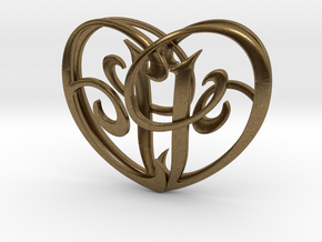 Scripted Initials 3d Heart - 4cm in Natural Bronze