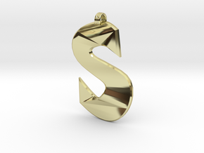 Distorted letter S in 18k Gold Plated Brass