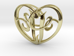 Scripted Initials 3d Heart - 4cm in 18K Gold Plated