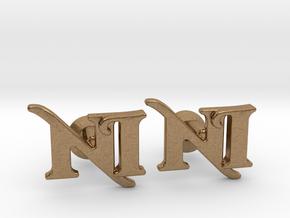 Monogram Cufflinks NI in Natural Brass