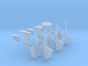 1-20 PT Elco Rudder-Propeller-Shaft Strut Set1 in Smooth Fine Detail Plastic
