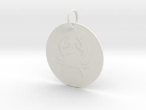 Cancer Keychain in White Natural Versatile Plastic