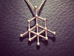 Diamond Molecule Pendant in Fine Detail Polished Silver