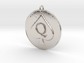 Queen of Spades Pendant in Platinum