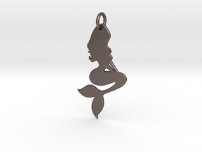 Mermaid Pendant in Polished Bronzed Silver Steel