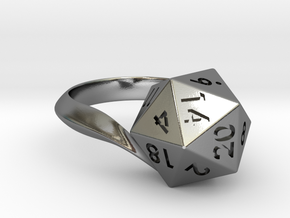 D20 Ring in Polished Silver: 12 / 66.5