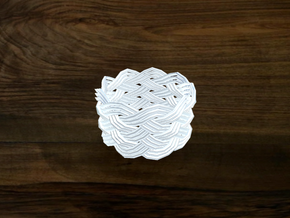 Turk's Head Knot Ring 6 Part X 9 Bight - Size 7 in White Natural Versatile Plastic