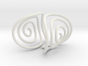 Spiral Torision Spring Inspired Bracelet in White Natural Versatile Plastic