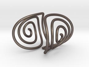 Spiral Torision Spring Inspired Bracelet in Polished Bronzed Silver Steel