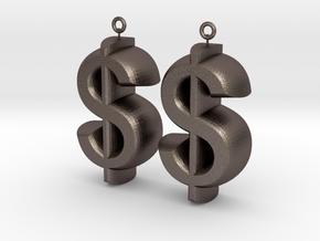 Earrings Dollar Symbols in Polished Bronzed Silver Steel