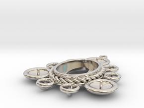 "Pendant ""Ursula"" in Rhodium Plated Brass: Small"