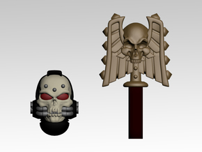 Skull Helm And Hammer 2 in Frosted Extreme Detail
