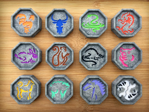 Chinese Zodiac Talismans in Full Color Sandstone