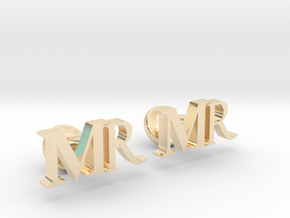 MR personalised cufflinks in 14k Gold Plated Brass