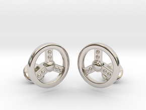 Steering Cufflinks in Rhodium Plated Brass