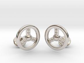 Steering Cufflinks in Rhodium Plated Brass