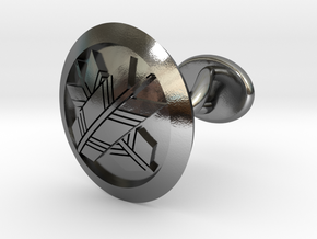 "Japanese mark cufflinks ""丸に違い矢紋"" in Polished Silver: Small"