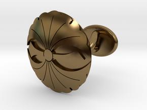"Japanese Kamon cufflink ""二つ剣銀杏紋"" in Polished Bronze"
