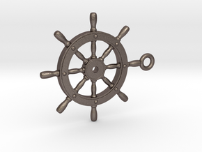 ship wheel Pendant 2 in Polished Bronzed Silver Steel