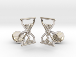 Sandclock Cufflinks in Rhodium Plated